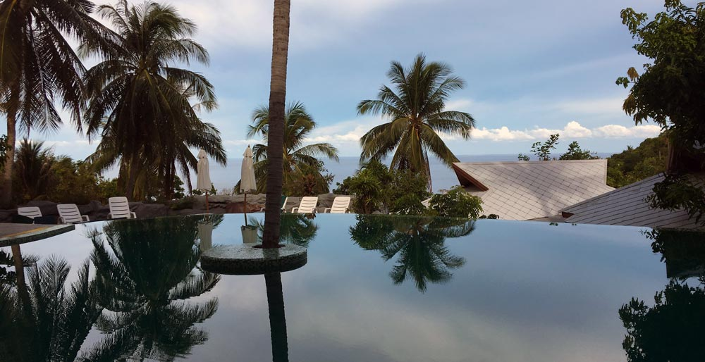 Pool at sunset tanote villa koh tao resort